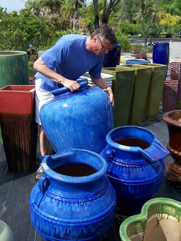My husband Jeff finds our first blue pot.